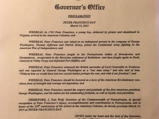 Commonwealth of Pennsylvania Peter Francisco Day