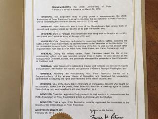 State of New York Legislative Resolution Peter Francisco Arrival