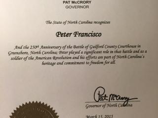 State of North Carolina Peter Francisco