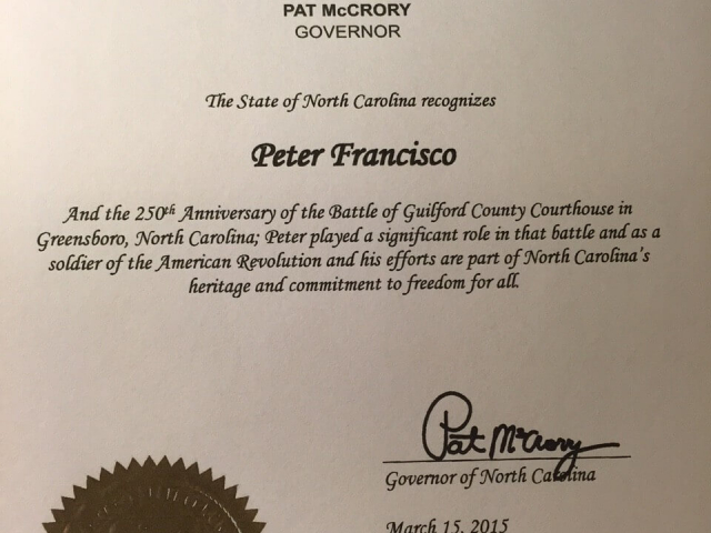 State of North Carolina Peter Francisco